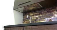Golden marbleized texture onto tempered glass